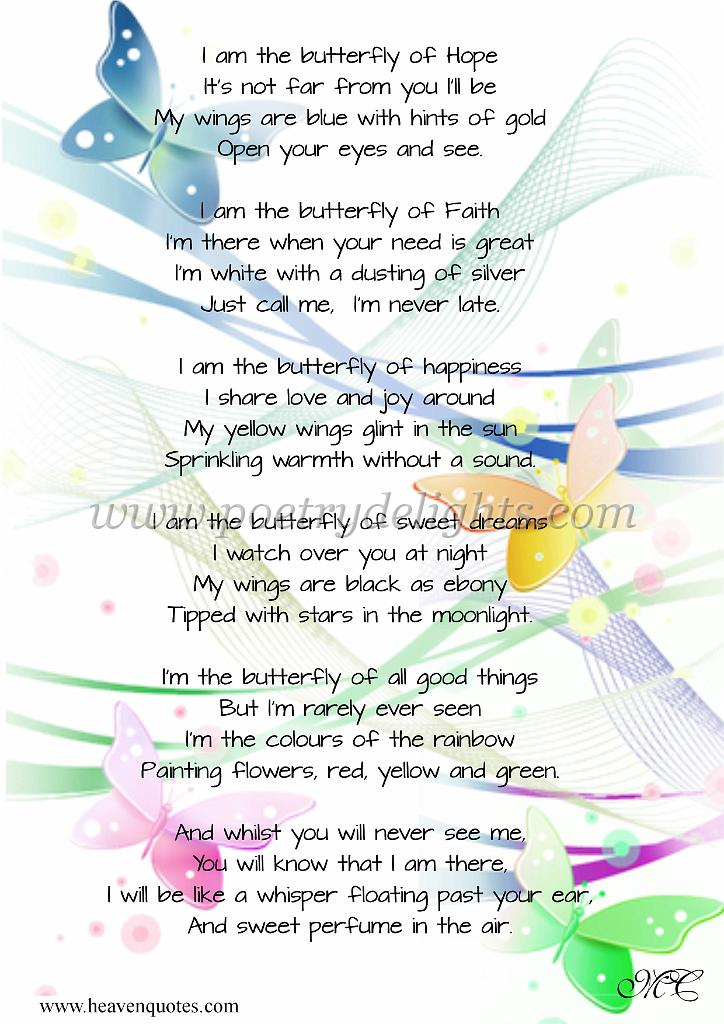 Picture Poems Inspirational I Am The Butterfly